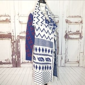 Tribal Duster Long Coat Sweater Knit Large Indian